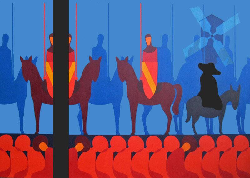 Don Chisciotte della storia - olio su tela cm 300X200