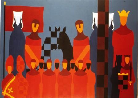 Personaggi e Scacchi - olio su tela cm. 265 x 193